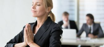 Woman being mindful at work