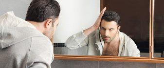 Narcissist looking in mirror