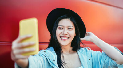 Confident woman taking a selfie