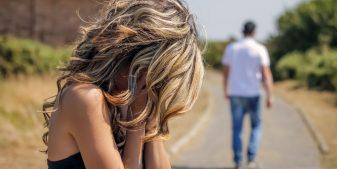 man walking away from upset woman